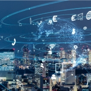 City with Digital Information Flying Around